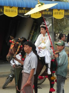 Little boy in initiation procession (Bagan, April 2011)