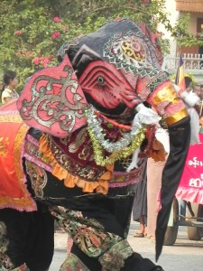 Elephant dancer in initiation procession (Bagan, April 2011)