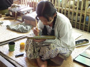 Etching the lacquerware in Bagan
