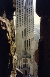 View from inside stairway of La Sagrada Familia, 1992