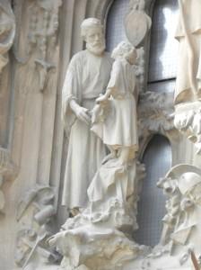 La Sagrada Famiilia, Nativity Façade, Jesus as a young boy w/Joseph
