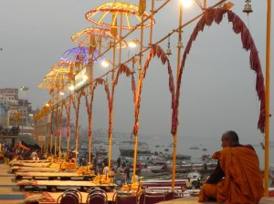 Preparing for Aarti Ceremony, Varanasi