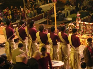 Young priests beginning the Aarti Ceremony, Varanasi