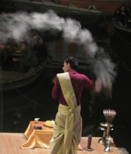 Burning Incense at Aarti Ceremony, Varanasi
