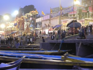 Pilgrims Descending Ghats to River Ganges in early morning, Varanasi