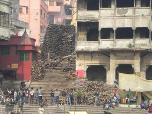 Piles of wood used in cremation, Varanasi